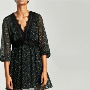 Zara Long Sleeve V-Neck Floral Lace Trim Dress